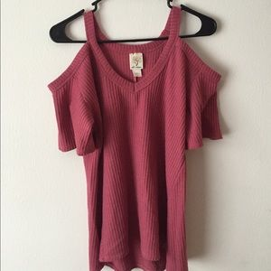 Pink shoulder cut out top
